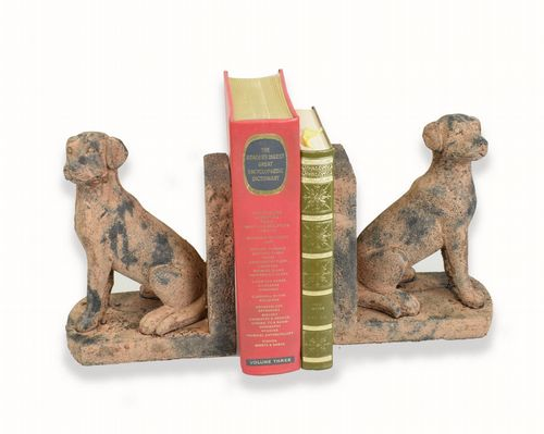 Reproduction Antique Stone Dog Book Ends